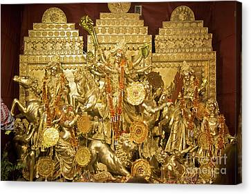 Exterior Of Decorated Durga Puja Pandal At Kolkata West Bengal India Canvas Print by Rudra Narayan Mitra