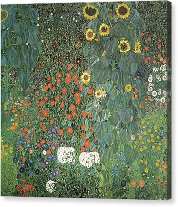 Farm Garden With Sunflowers Canvas Print by Gustav Klimt