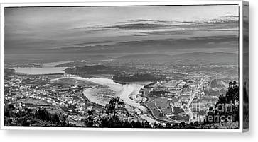 Canvas Print featuring the photograph Ferrol's Ria Panorama From Mount Ancos Galicia Spain by Pablo Avanzini