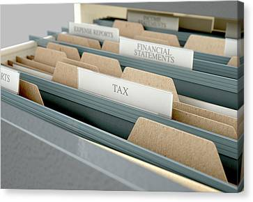 Filing Cabinet Drawer Open Tax Canvas Print by Allan Swart