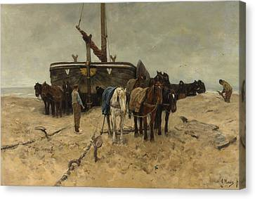 Fishing Boat On The Beach Canvas Print by Anton Mauve