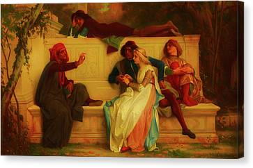 Canvas Print featuring the painting Florentine Poet by Alexandre Cabanel