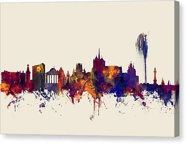 Switzerland Canvas Print - Geneva Switzerland Skyline by Michael Tompsett