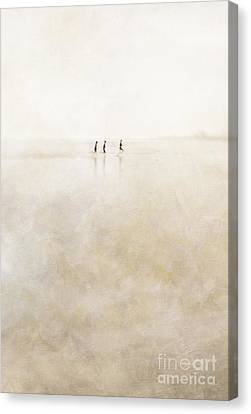 3 Girls Running Canvas Print by Paul Grand