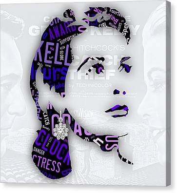 Grace Kelly Movies In Words Canvas Print by Marvin Blaine