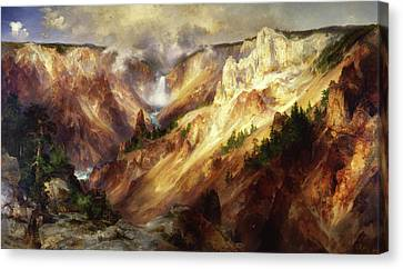 Canvas Print featuring the painting Grand Canyon Of The Yellowstone by Thomas Moran