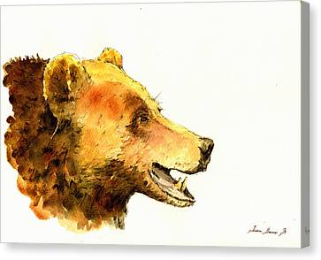 Grizzly Bear Watercolor Painting Canvas Print