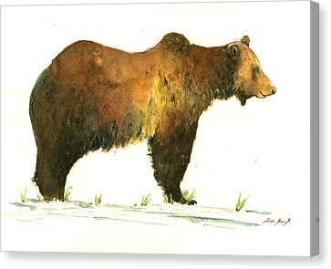 Grizzly Brown Bear Canvas Print by Juan  Bosco