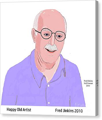 Happy Old Artist Canvas Print by Fred Jinkins