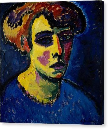 Head Of A Woman Canvas Print by Alexej von Jawlensky