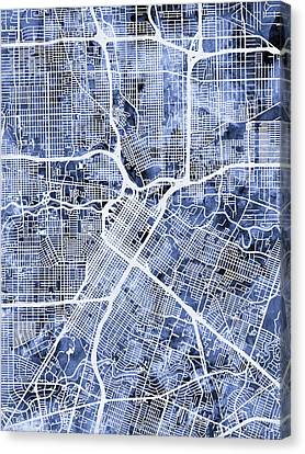 Houston Texas City Street Map Canvas Print by Michael Tompsett