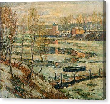 Lawson Canvas Print - Ice In The River by Ernest Lawson