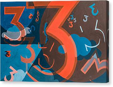 3 In Blue And Orange Canvas Print