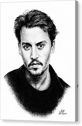 Johnny Depp Bw Version Canvas Print by Andrew Read