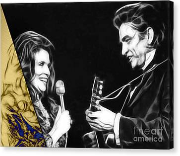 Johnny Cash Canvas Print - June Carter And Johnny Cash Collection by Marvin Blaine