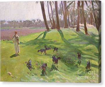 Landscape With Figure Canvas Print - Landscape With Goatherd by John Singer Sargent