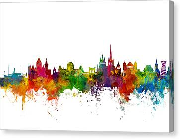 Switzerland Canvas Print - Lausanne Switzerland Skyline by Michael Tompsett