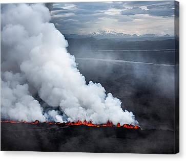 Lava And Plumes From The Holuhraun Canvas Print by Panoramic Images