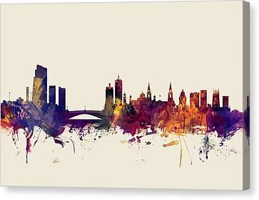 United Kingdom Canvas Print - Leeds England Skyline by Michael Tompsett