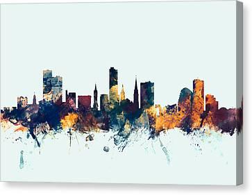 Leicester England Skyline Canvas Print by Michael Tompsett