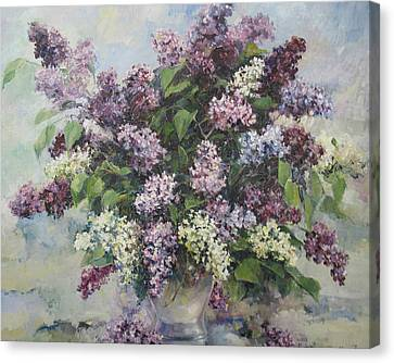 Canvas Print featuring the painting Lilacs by Tigran Ghulyan