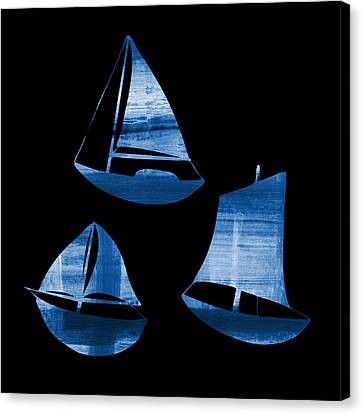 3 Little Blue Sailing Boats Canvas Print by Frank Tschakert