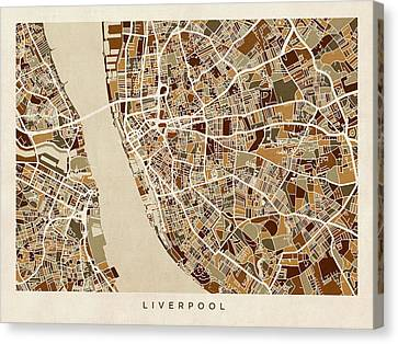 Liverpool England Street Map Canvas Print