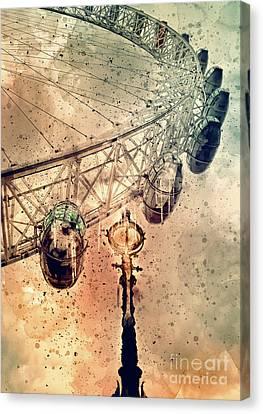Lamp Post Canvas Print - London Eye by Svetlana Sewell