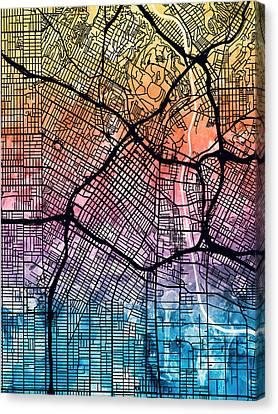 Los Angeles City Street Map Canvas Print by Michael Tompsett