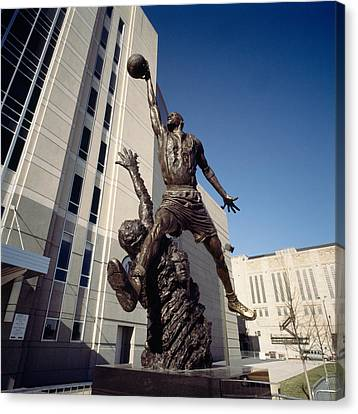 Michael Jordan Canvas Print - Low Angle View Of A Statue In Front by Panoramic Images