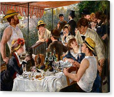 Luncheon Of The Boating Party Canvas Print by Auguste Renoir