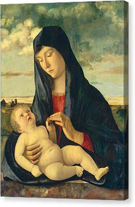 Madonna And Child In A Landscape Canvas Print by Giovanni Bellini