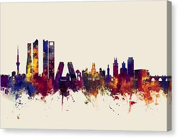 Madrid Spain Skyline Canvas Print by Michael Tompsett