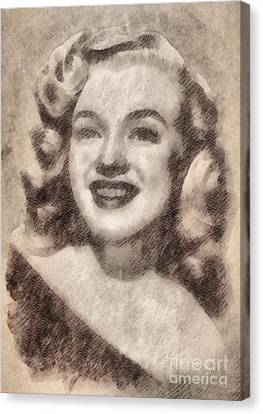 Marilyn Monroe Vintage Hollywood Actress Canvas Print by John Springfield