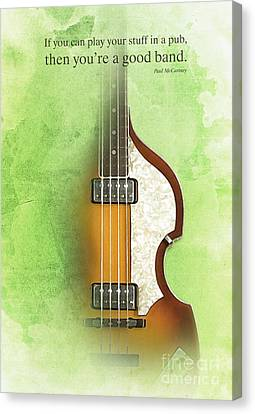 Mccartney Hofner Bass, Vintage Background, Gift For Musicians, Inspirational Quote Canvas Print