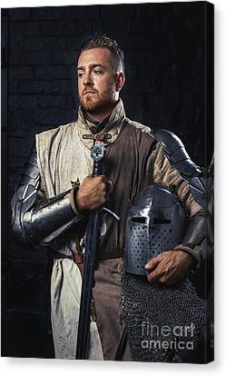 Medieval Knight In Armour Canvas Print by Amanda Elwell