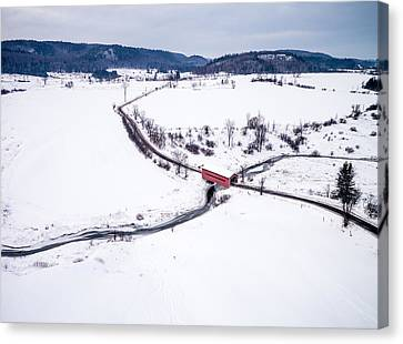 Aerial Canvas Print - Meech Creek Covered Bridge by Rob Huntley