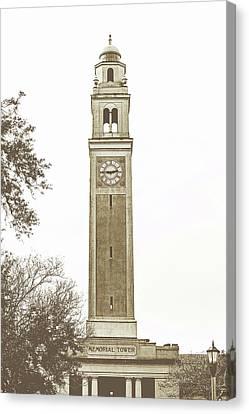 Memorial Tower - Lsu Sepia Toned Canvas Print