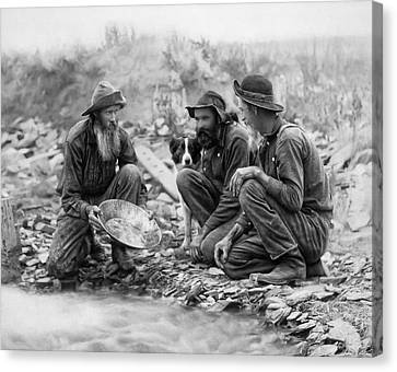 3 Men And A Dog Pan For Gold Painterly - 1889 Canvas Print by Daniel Hagerman