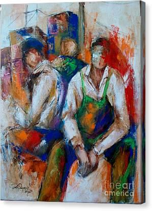 3 Men Waiting For A Break Canvas Print