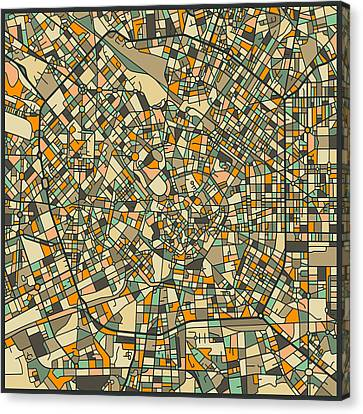 Milan Map Canvas Print by Jazzberry Blue
