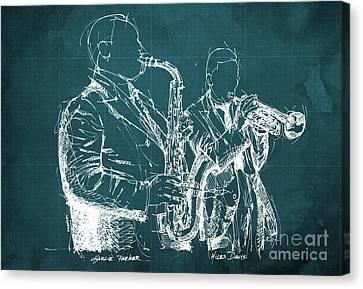 Musica Canvas Print - Miles Davis And Charlie Parker On Stage, Original Sketch by Pablo Franchi