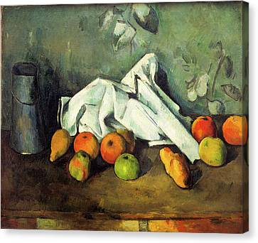 Milk Can And Apples Canvas Print by Paul Cezanne