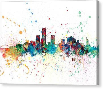 Milwaukee Canvas Print - Milwaukee Wisconsin Skyline by Michael Tompsett