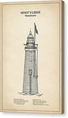 Minots Ledge Lighthouse - Massachusetts - Blueprint Drawing Canvas Print