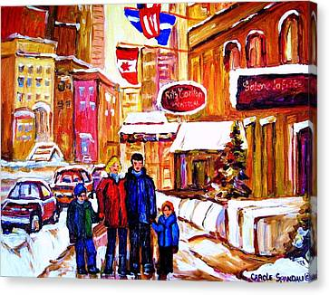 Canvas Print featuring the painting Montreal Street In Winter by Carole Spandau