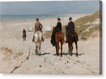 Morning Ride Along The Beach Canvas Print by Anton Mauve