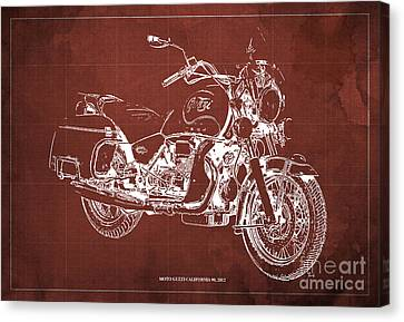 Moto Guzzi California 90  2012 Blueprint Canvas Print by Pablo Franchi