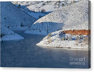Mountain Lake In Winter Canvas Print