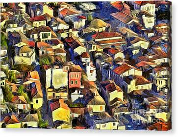Houses Canvas Print - Nafplio Town by George Atsametakis